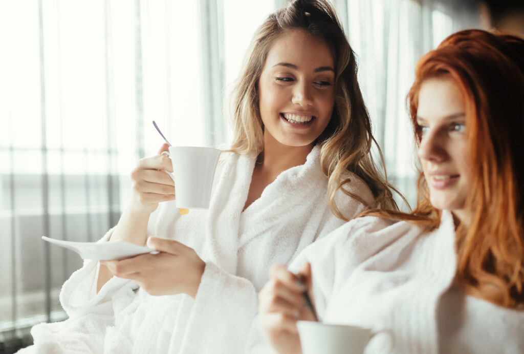 Women at spa with coffee
