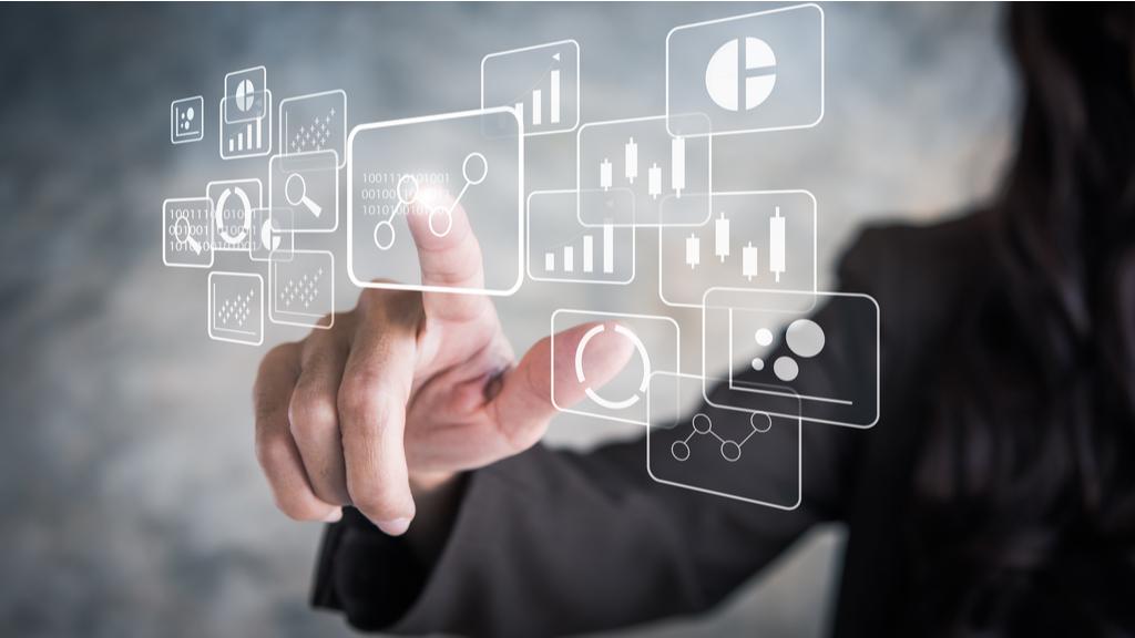 Hand Swiping through Business intelligence